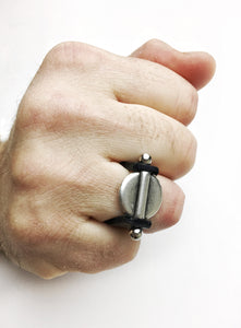 Black leather Rogue Ring.