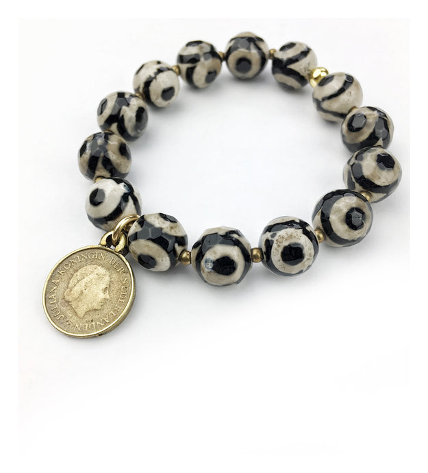 Striped Agate Dutch Coin Bracelet