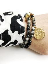 Load image into Gallery viewer, Australian Half Penny Onyx and Zebra Jasper Coin Bracelet