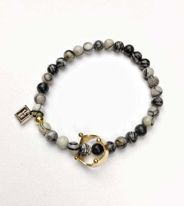Sovereignty Crown Zebra Jasper Bracelet