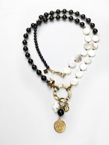 Long Mother of Pearl and Onyx Charm Necklace