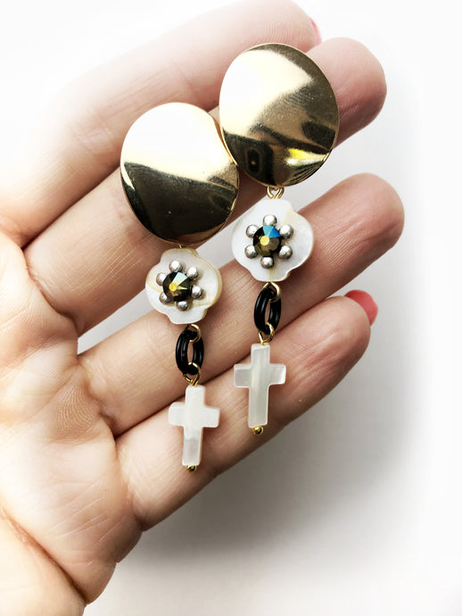 Milagros Mother of Pearl Charm Earring