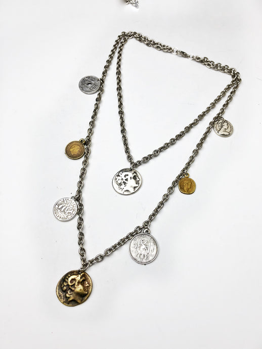 Double Coin Charm Necklace.
