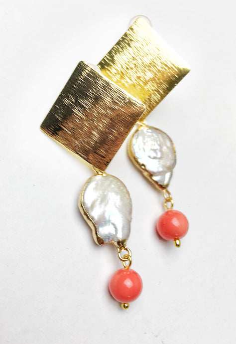 Diamond freshwater and Coral Earring