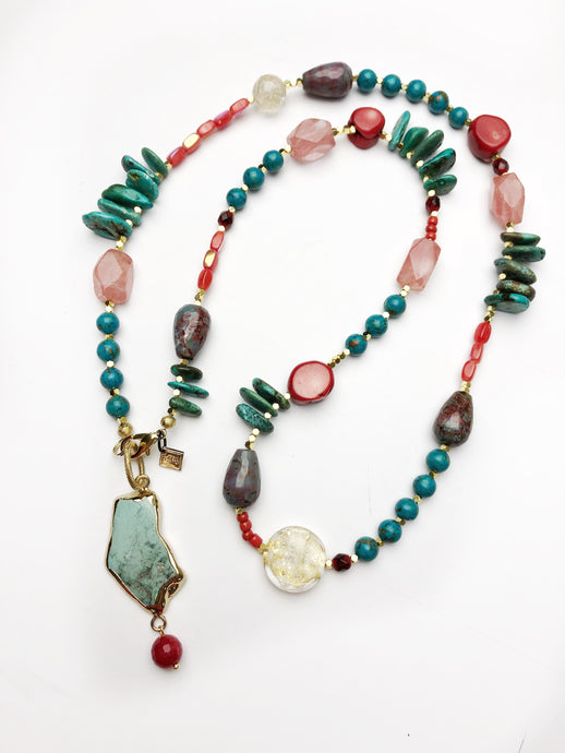 Long Turquoise, Coral, Quartz and Jasper Necklace