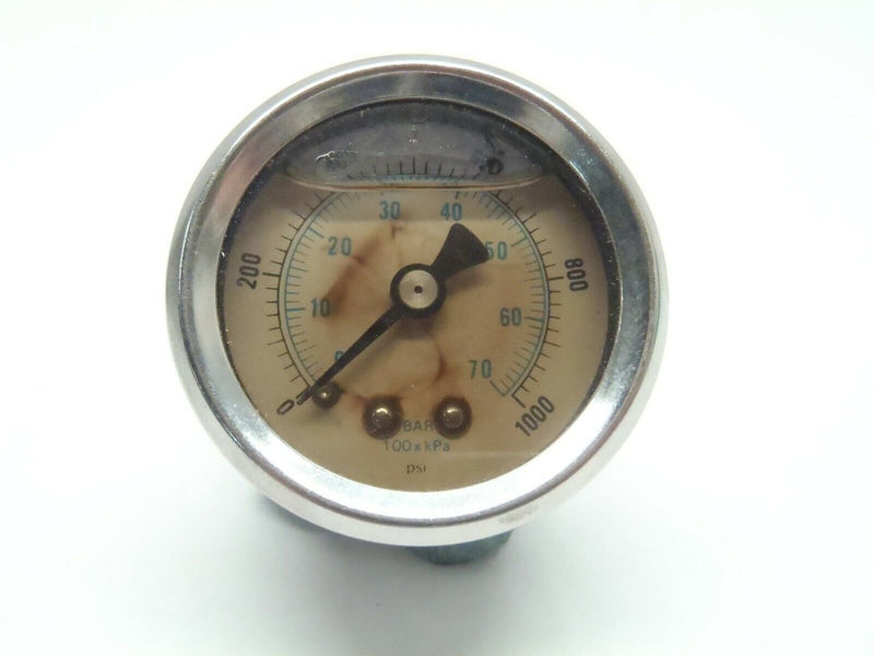 "1-1/2"" Inch Chrome Dual Scale Liquid Filled Gauge 0-1000 0-70 Bar kPa - Maverick Industrial Sales"
