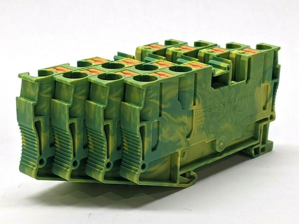 Phoenix Contact Typ PT 6-TWIN-PE Terminal Block Green Yellow LOT OF 4