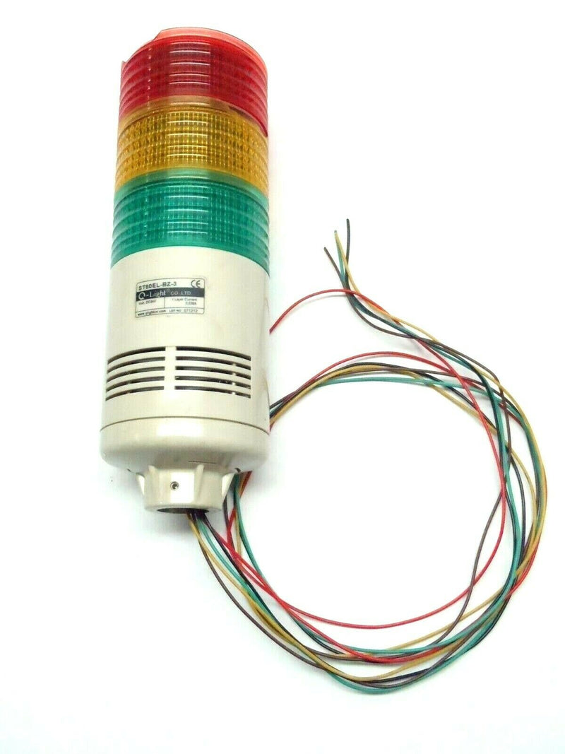 Q-Light ST80EL-BZ-3 LED Steady Flashing Tower Light Red Amber Green w/ Buzzer - Maverick Industrial Sales