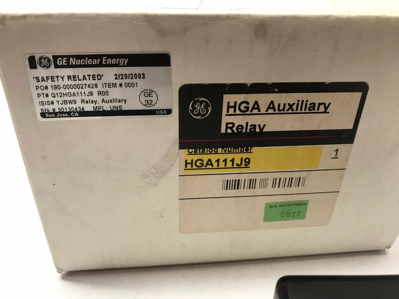 GE HGA Auxiliary Safety Relay Q 12HGA111J9 Nuclear Energy YJBW9 MPL:UNS - Maverick Industrial Sales
