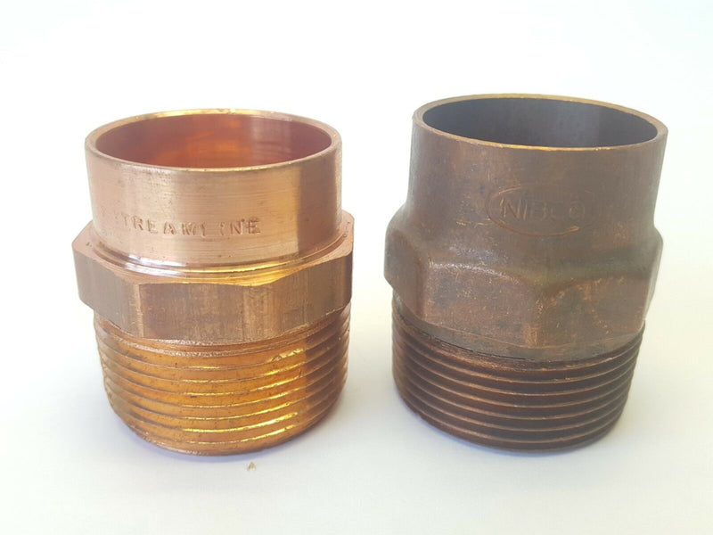 "1-1/4"" Inch Nominal Wrot Copper Tube Fitting Adapter CXMNPT - Maverick Industrial Sales"