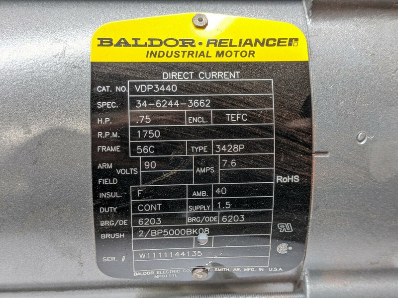 Baldor VDP3440 Electric Motor .75HP 1750RPM 90V TEFC - Maverick Industrial Sales