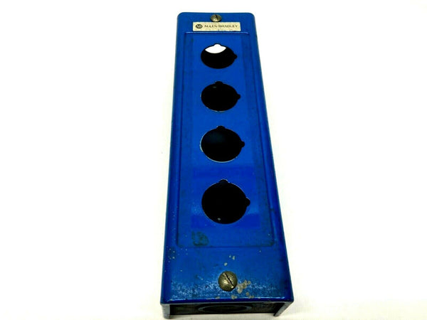 "Allen Bradley 4 Pushbutton Blue Enclosure 10-1/2 x 3-1/2 x 2-7/8"" - Maverick Industrial Sales"