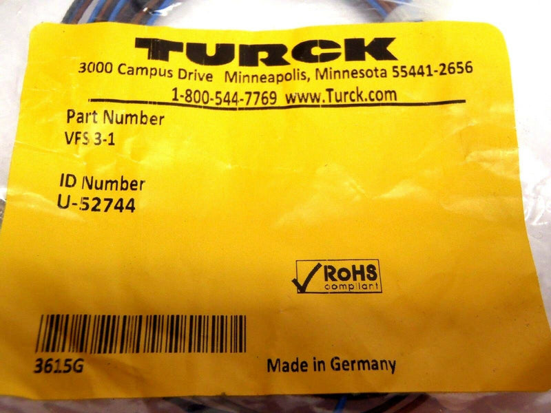 Turck VFS 3-1 Male Cordset U-52744 - Maverick Industrial Sales