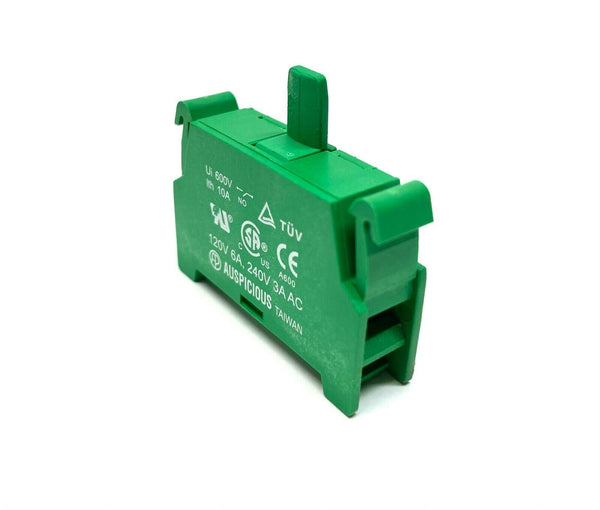 Auspicious 1629 Green Contact Block 120V 6A 240V 3A - Maverick Industrial Sales