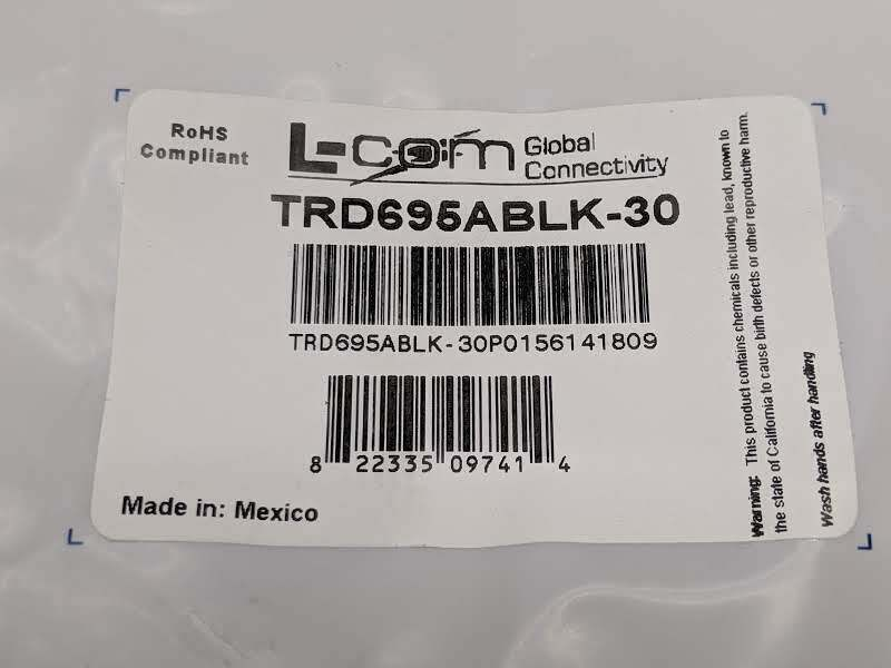 L-COM TRD695ABLK-30 Cat 6A Ethernet Cable RJ45 To RJ45 30' FT - Maverick Industrial Sales
