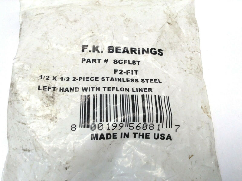 F.K. Bearings SCFL8T F2-FIT 1/2 X 1/2 2- Piece Stainless Steel Left Hand - Maverick Industrial Sales