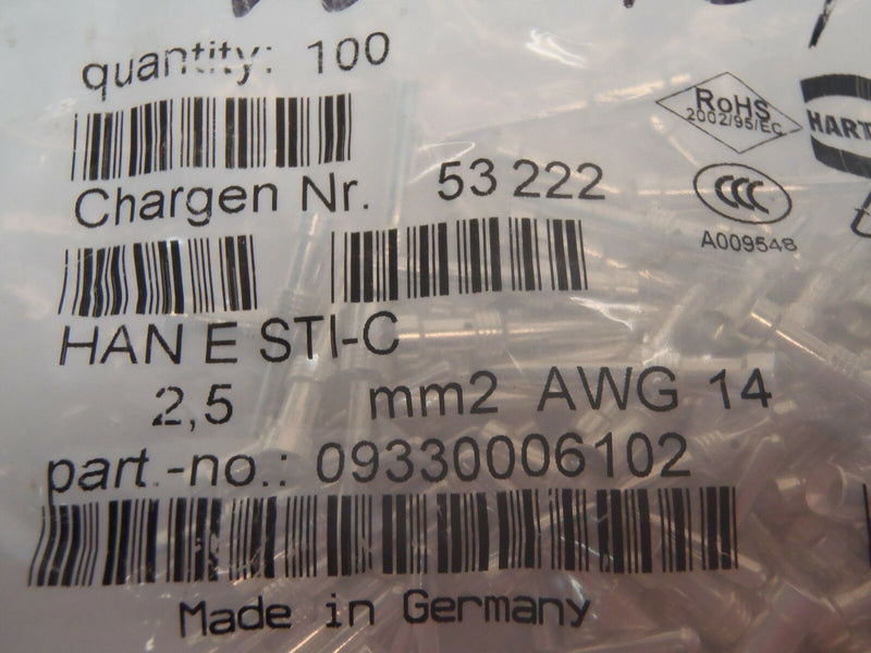Pack of (100) Harting 9330006102 Heavy Duty Connector Contacts HAN E STI-C - Maverick Industrial Sales