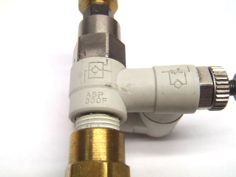 "SMC ASP 330F Pneumatic Flow Control Valve W/ 1/4"" Pneumatic Brass Fittings - Maverick Industrial Sales"