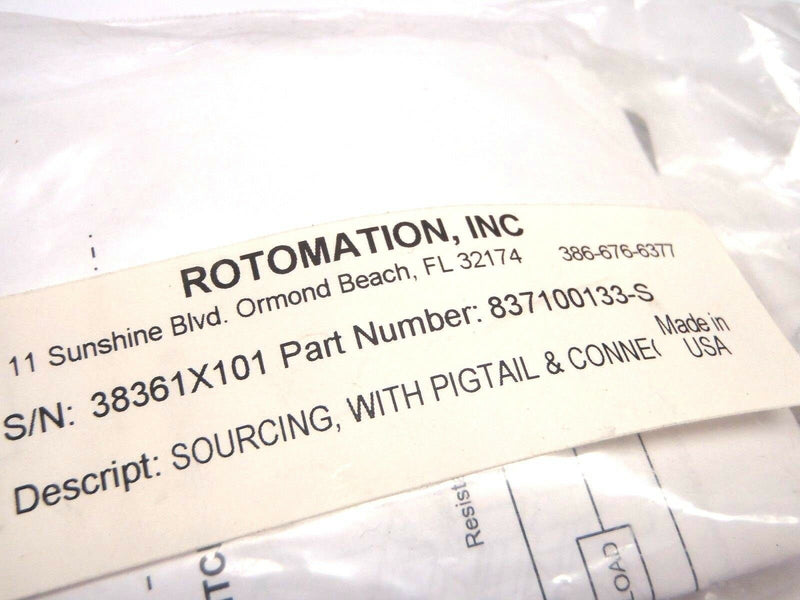Rotomation 837100133-S 24VDC Sourcing Sensor with Pigtail and Connector - Maverick Industrial Sales