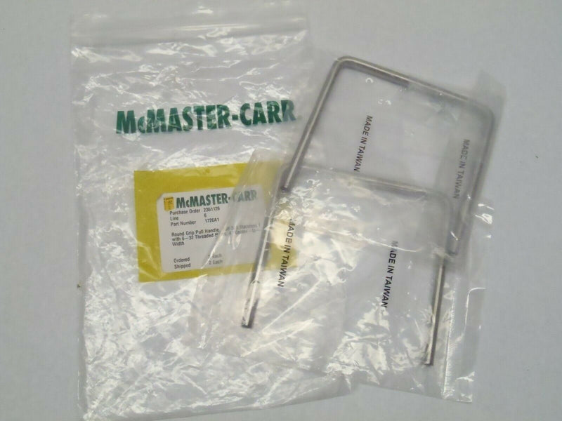 "Lot of 2 McMaster Carr 1726A1 Round Grip Pull Handle 303 SS 4"" Ctr to Ctr - Maverick Industrial Sales"