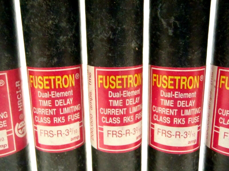 """5 Never Used 5/"""" Fuses #FRS-R-32//10BUSSMAN FUSETRON Dual-Ele.Time Delay3-2//10 Amp"""