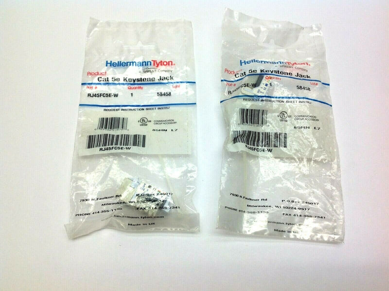 Hellermann Tyton RJ45FC5E-W Cat 5e Keystone Lot of 2 - Maverick Industrial Sales