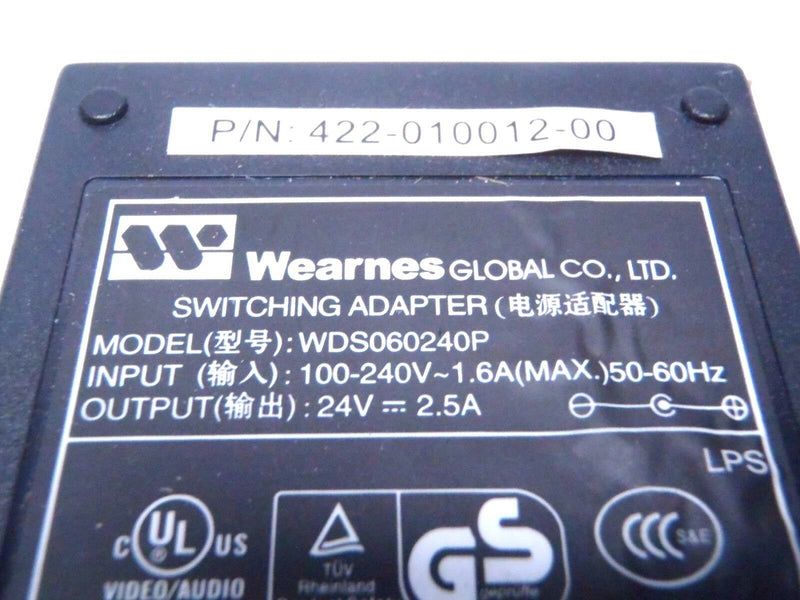 Wearnes 422-010012-00 Power Supply Switching Adapter WDS060240P 100-240V 1.6A - Maverick Industrial Sales