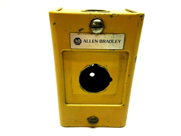 "Allen Bradley 1 Pushbutton Opening Yellow Enclosure 4-7/8 x 3-3/8 x 2-7/8"" - Maverick Industrial Sales"