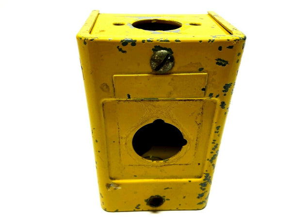 "Allen Bradley 1 Pushbutton Opening Yellow Paint Enclosure 4-7/8 x 3-3/8 x 2-7/8"" - Maverick Industrial Sales"