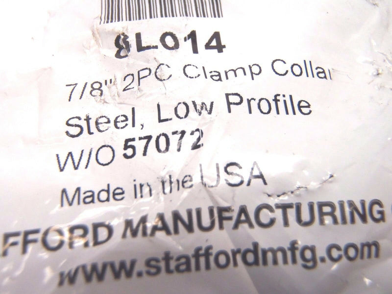 "Stafford 8L014 Low Profile Steel 7/8"" Inch 2 PC Clamp Collar W/O 57072 - Maverick Industrial Sales"