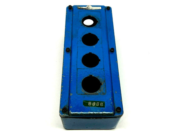 "Allen Bradley 800T-4TZ L 4 Pushbutton Blue Enclosure 9-1/2 x 3-3/4 x 3"" - Maverick Industrial Sales"