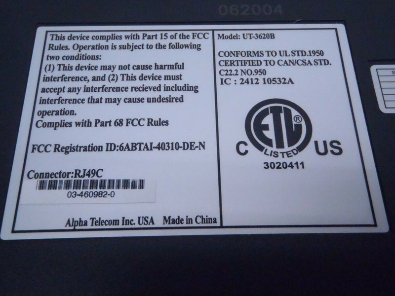ALPHA TELECOM UT-3620B TRIPLE NT1 W/ POWER SUPPLY - Maverick Industrial Sales