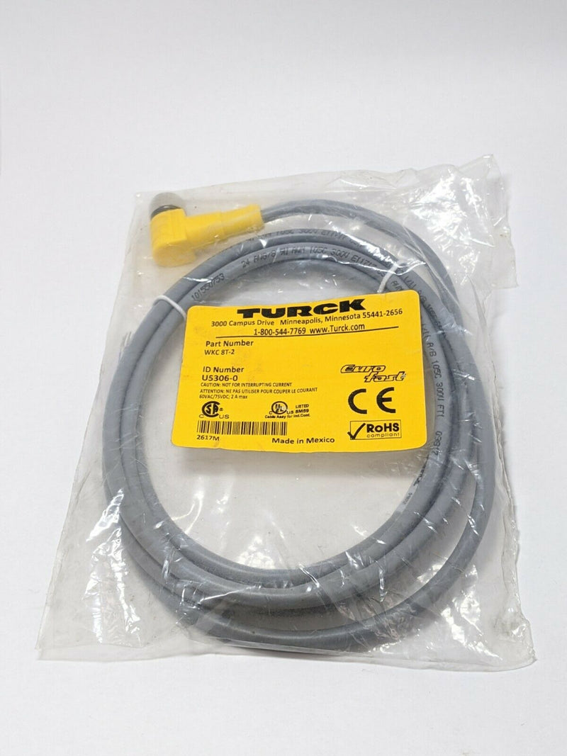 Turck WKC 8T-2 Eurofast Right Angle M12 Female Cordset 8 Conductor U5306-0 - Maverick Industrial Sales