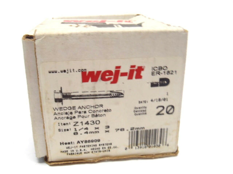 "Box of (24) Wej-It Z1430 / ICBO ER-1821 Wedge Anchor 1/4"" X 3"" Inch - Maverick Industrial Sales"