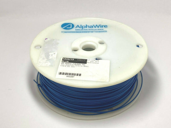 Alpha Wire 1856/19 BL001 Hook-Up Wire 1000' Ft Spool 20 AWG Blue PVC Insulated - Maverick Industrial Sales
