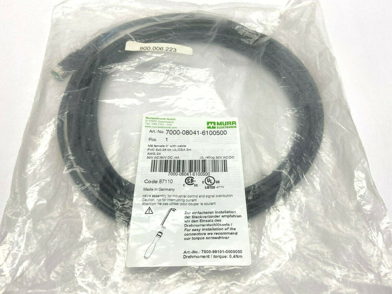 Murr Elektronik 7000-08041-6100500 M8 Singled Ended Cordset - Maverick Industrial Sales