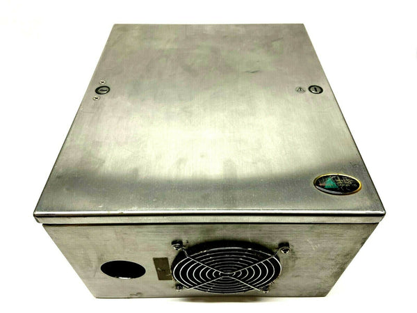 "Hoffman LHCS353020SS Stainless Enclosure 12-3/4 x 11-7/8 x 7-7/8"" w/ Fan Cutout - Maverick Industrial Sales"