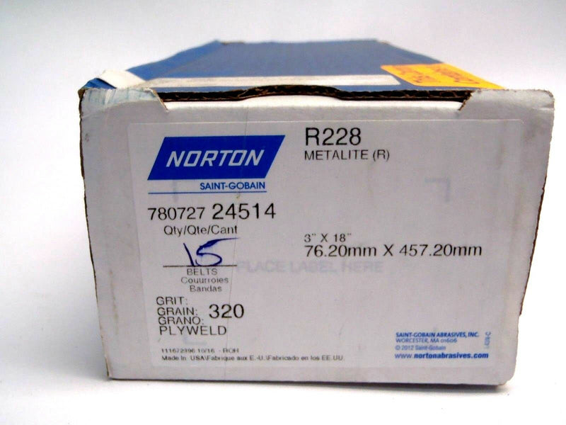 "Norton 78072724514 R228 Metalite 3""x18"" 320 Grit Sanding Belts Box of (15) - Maverick Industrial Sales"