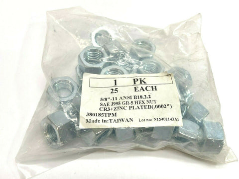 "5/8""-11 ANSI B18.2.2 Hex Nut Zinc Plated Bag of 25"