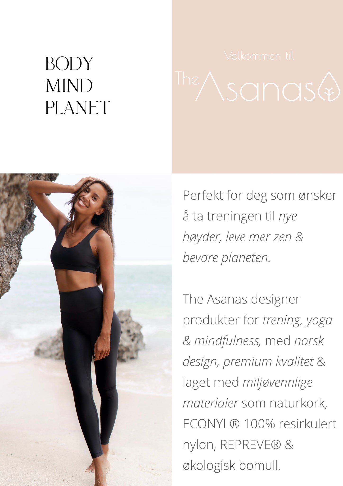 The Asanas tights sportsbh treningsklær kork yogamatte