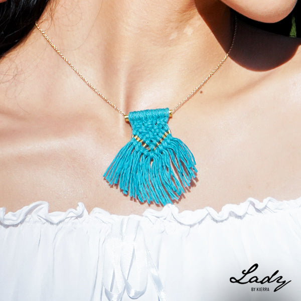 Teal Macrame Necklace
