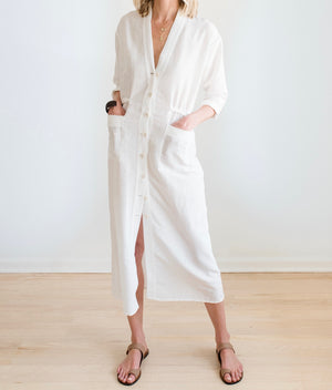 sustainable natural fabric shirt dress