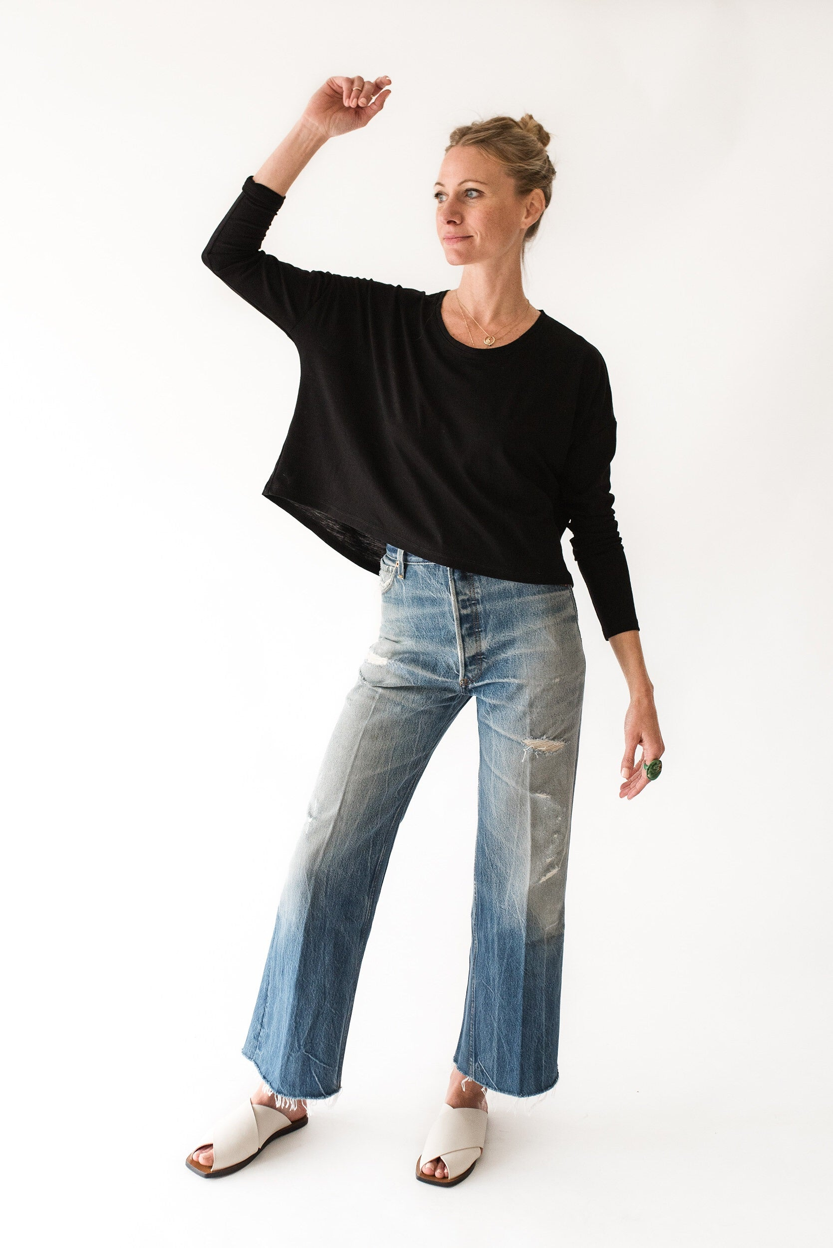 draped long sleeve top
