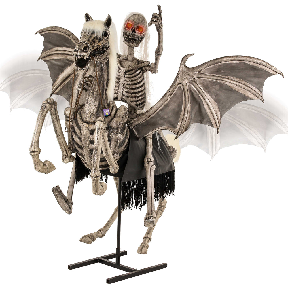 Halloween Haunters Life Size Animated Standing Scary Skeleton Pegasus Horse with Skeleton Zombie Rider and Moving Flapping Wings Prop Decoration