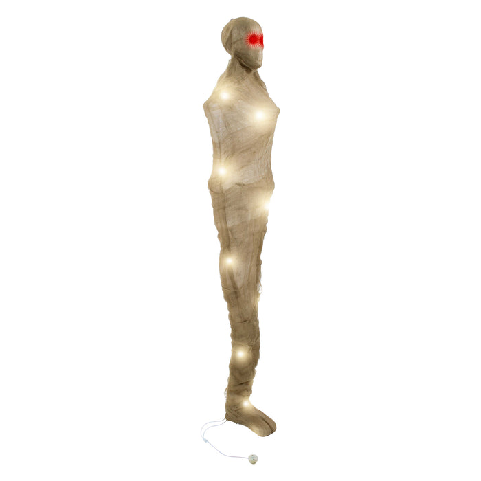 3 Foot Hanging Mummy Corpse in Spider Web Cocoon with Skull Body LED Lights Prop Decoration - Scary Entombed Dead Human, Red Eyes - Haunted House Graveyard, Entryway Party Display