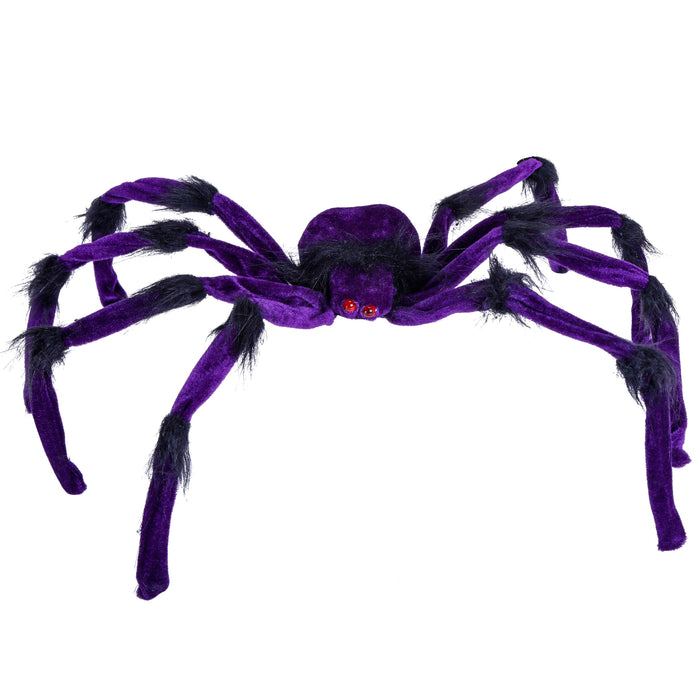 Set of 3 Large 2 Foot Realistic Scary Purple, Orange and Gray Spiders with Red Flashing Eyes Prop Decoration - Creepy Crawly Fury Legs - Place in Web, Tree, Haunted House, Entryway