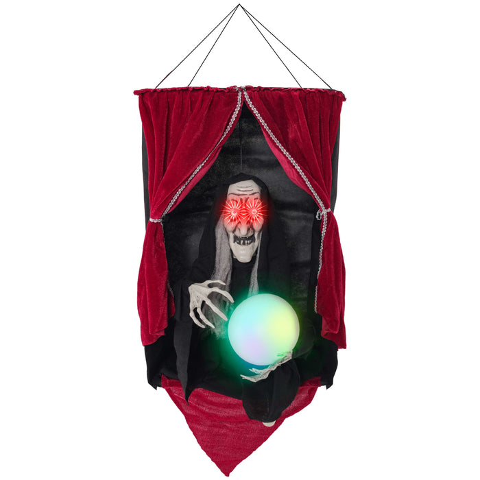 Halloween Haunters Animated Hanging Speaking Fortune Telling Wicked Witch Prop Decoration - Moving Arms, 3 Spell Casting Future Phrases, Crystal Ball