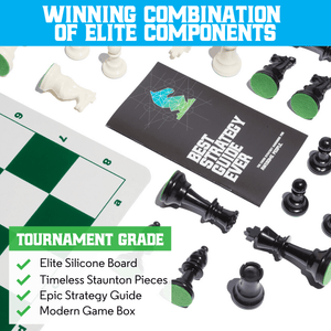 The Best Chess Set Ever - Triple Weight 3X Pieces & Green Silicone Board