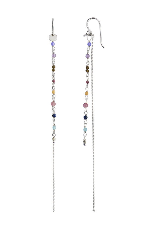 Petit Gemstones with Long Chain Earring - Silver - Stine A