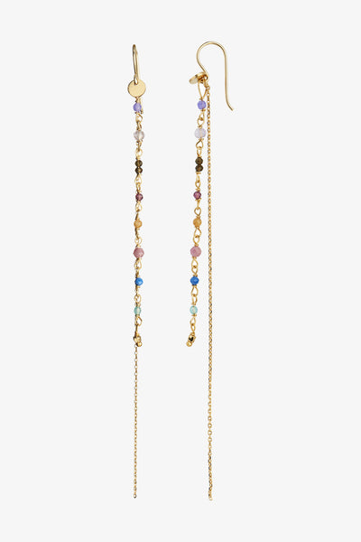 Petit Gemstones with Long Chain Earring - Gold - Stine A